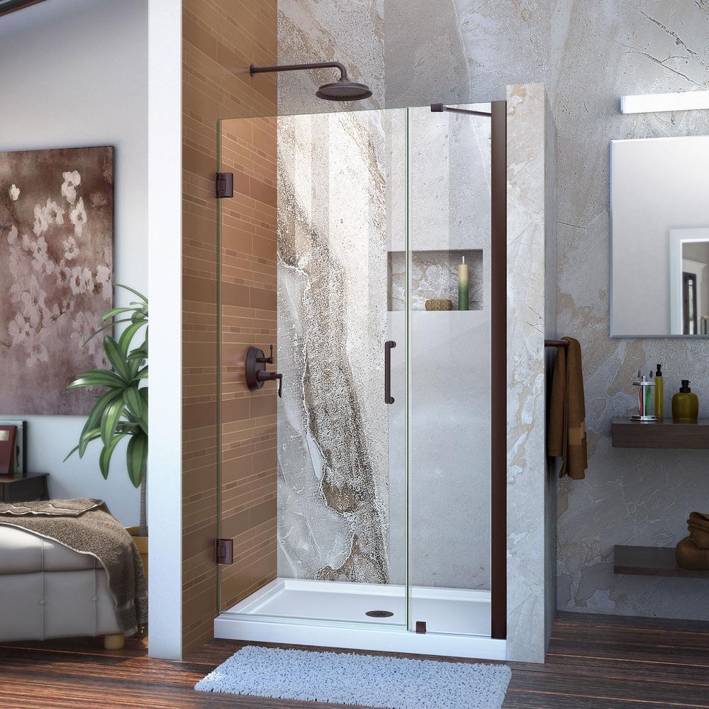 DreamLine Unidoor 35 to 36 in. x 72 in. Frameless Hinged Pivot Shower Door in Oil Rubbed Bronze with Handle