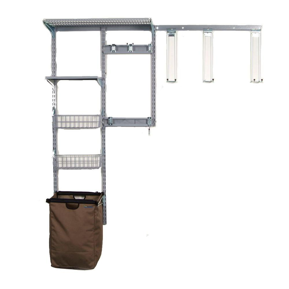 Storability Modular Wall Storage System with Shed Wall Storage Center with Long Handle Tool Keepers, Silver/Grey