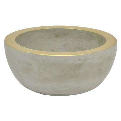 3.5 in. Gray Grey/Gold Rim Planter
