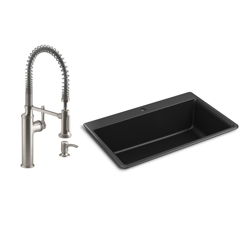 KOHLER Kennon Drop-in/Undermount Granite Composite 33 in. Single Bowl Kitchen Sink with Sous Kitchen Faucet in Matte Black