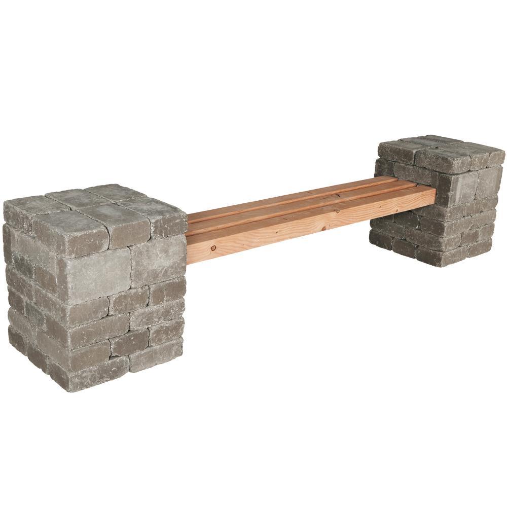 Pavestone rumblestone 100 in x 24 5 in x 21 in concrete garden bench