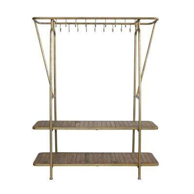 Gold Metal Rack with Hooks and Shelves