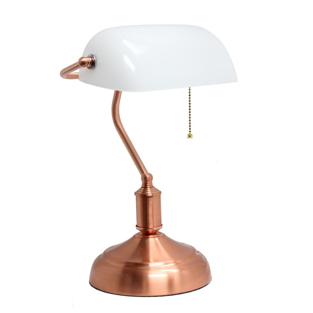 Simple designs 1475 in rose gold bankers lamp with glass shade rose gold bankers lamp with glass shade aloadofball