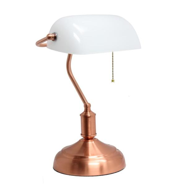 14.75 in. Rose Gold Banker's Lamp with Glass Shade