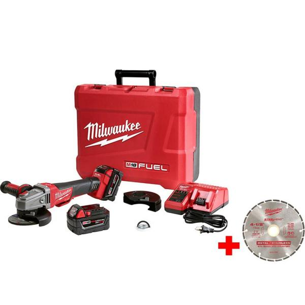 M18 FUEL 18-Volt Lithium-Ion Brushless Cordless 4-1/2 in./5 in. Braking Grinder Kit with 4-1/2 in. Diamond Blade
