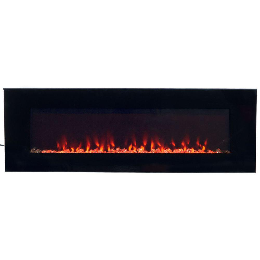 Northwest 54 In Led Fire And Ice Electric Fireplace With Remote Black