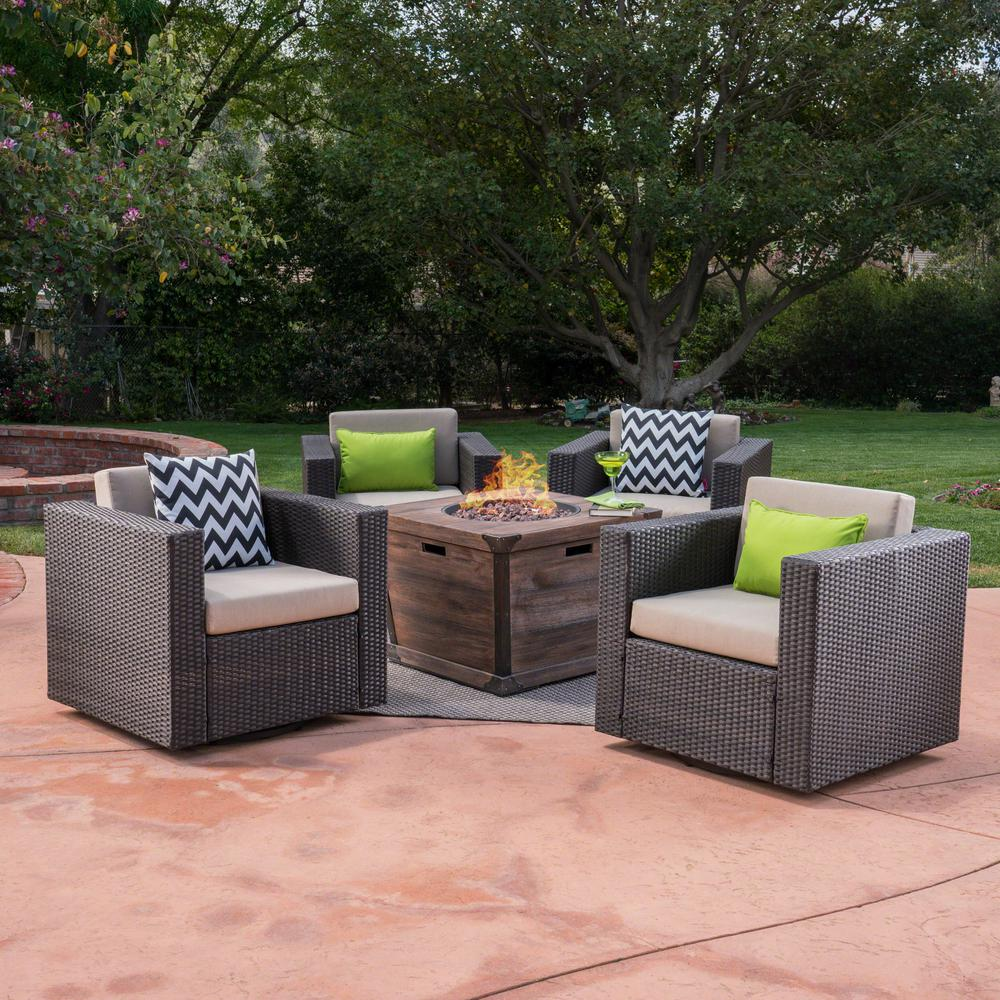 Noble House Maaroaro Dark Brown 5-Piece Wicker Patio Fire Pit Conversation Set with Beige Cushions