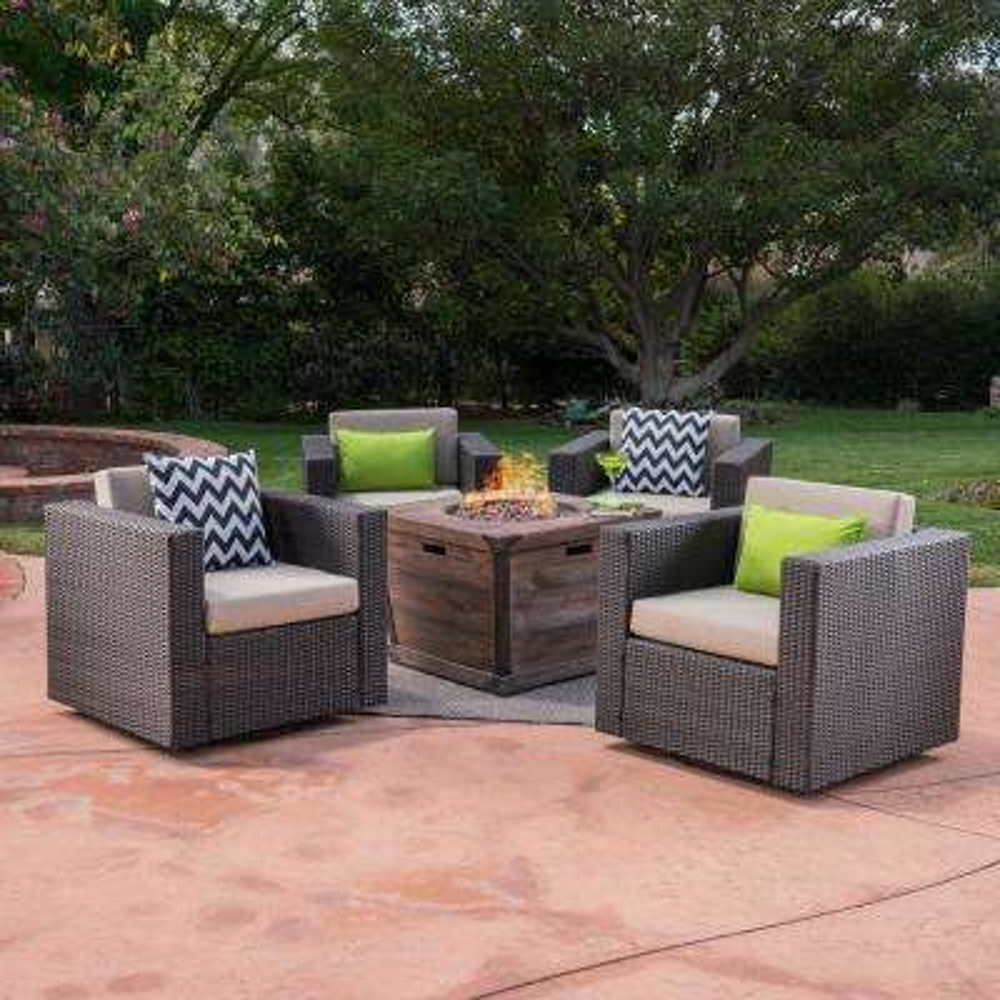 Maaroaro Dark Brown 5-Piece Wicker Patio Fire Pit Conversation Set with Beige Cushions
