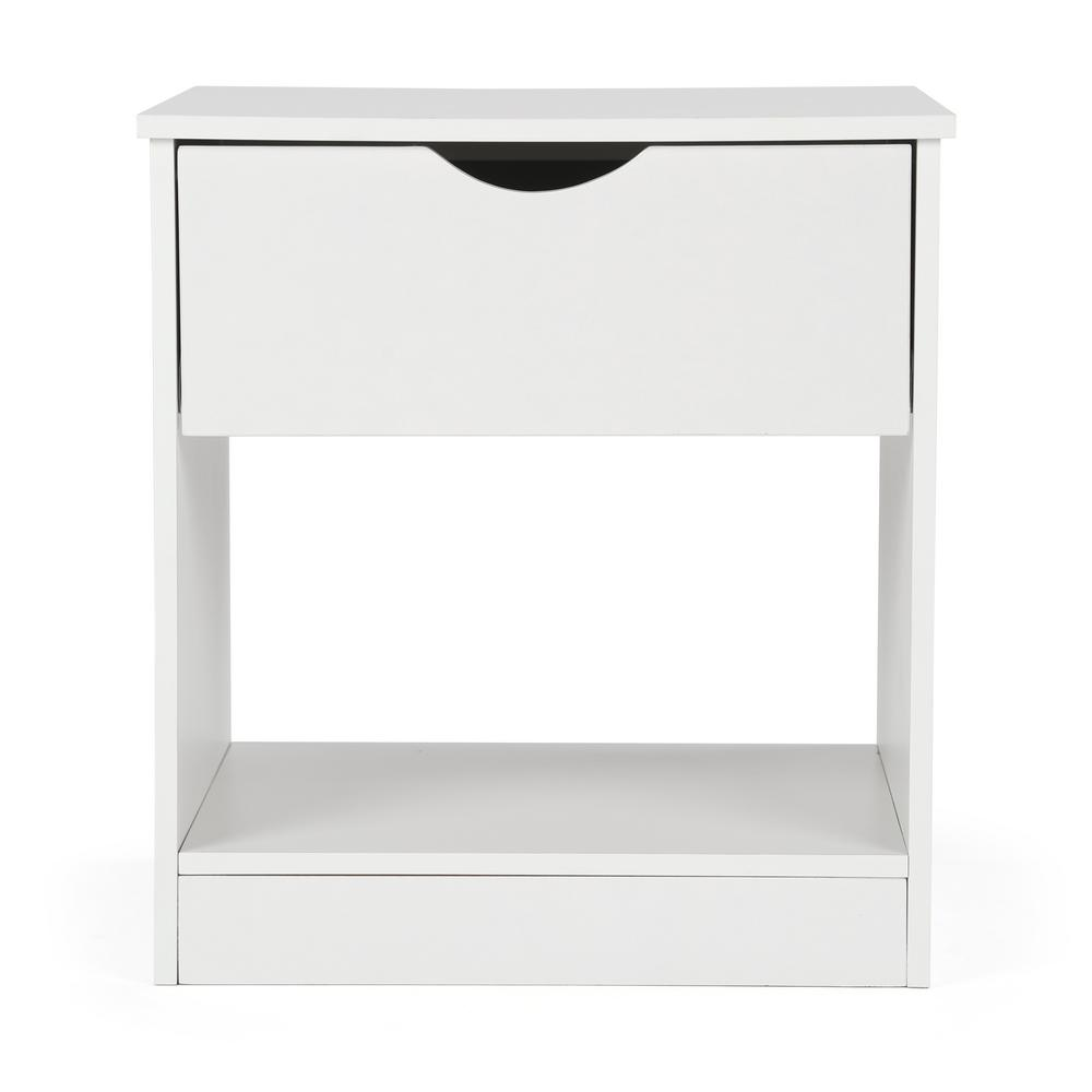 Single Pull-Out Drawer White End Table/Nightstand-GJ510