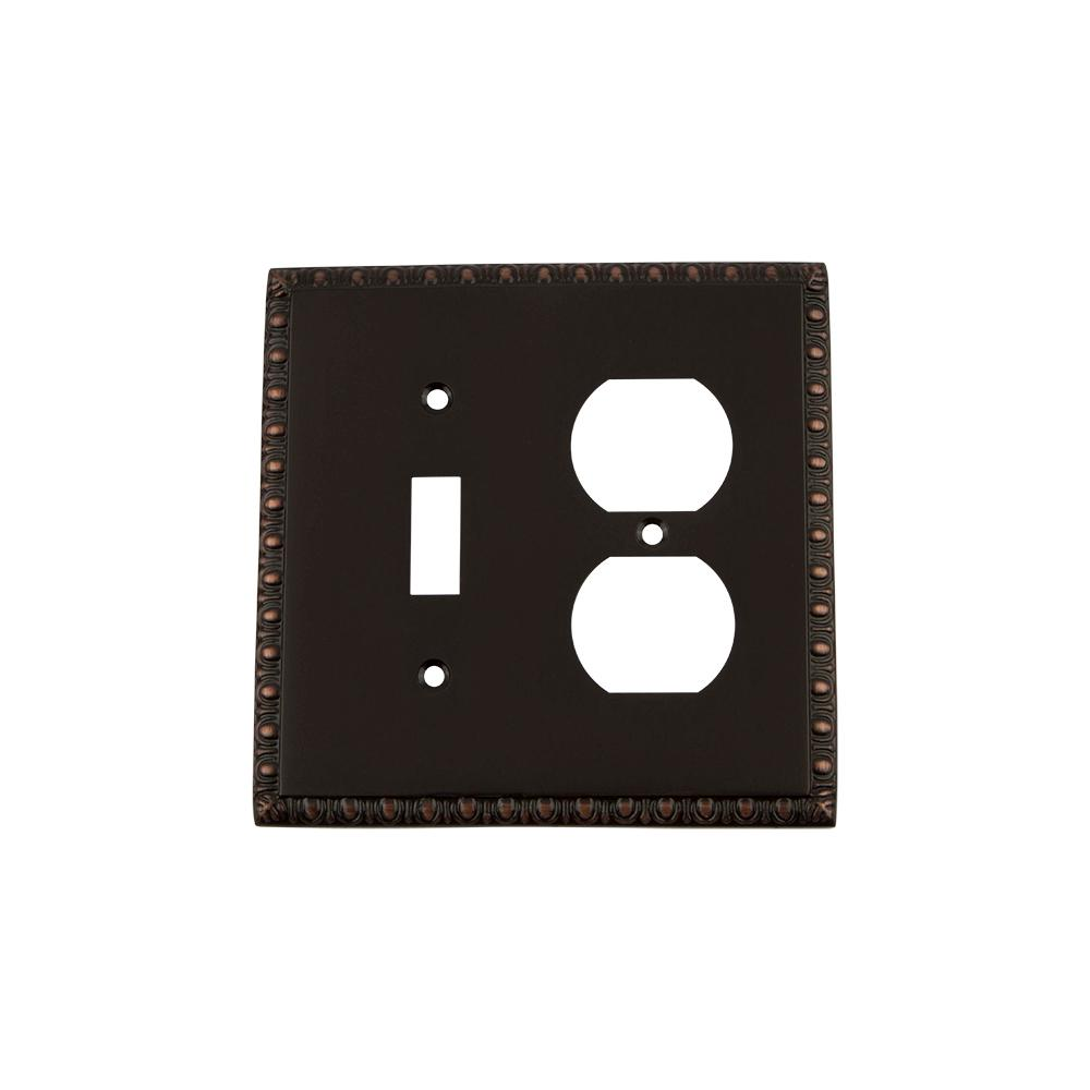 Egg and Dart Switch Plate with Toggle and Outlet in Timeless