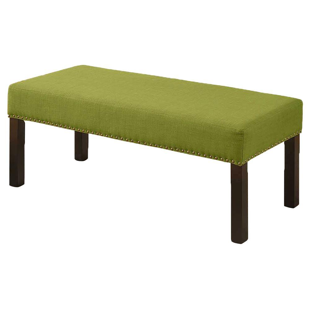 Alma contemporary fabric upholstered decorative bench with nailhead trimming lime green bc 1007 Decorative benches