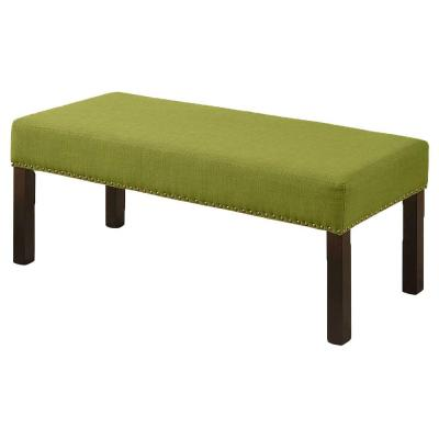Alma Contemporary Fabric Upholstered Decorative Bench with Nailhead Trimming, Lime Green