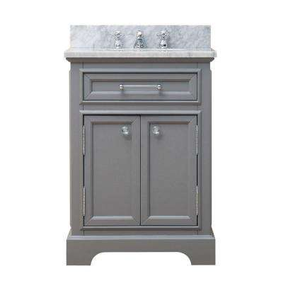 24 in. W x 21.5 in. D Vanity in Cashmere Grey with Marble Vanity Top in Carrara White and Chrome Faucet