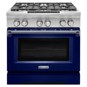 36 In. 5.1 Cu. Ft. Dual Fuel Range With Convection Oven In Cobalt.  KitchenAid ...