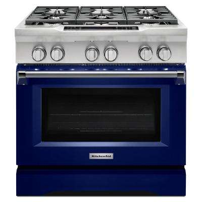 36 in. 5.1 cu. ft. Dual Fuel Range with Convection Oven in Cobalt Blue