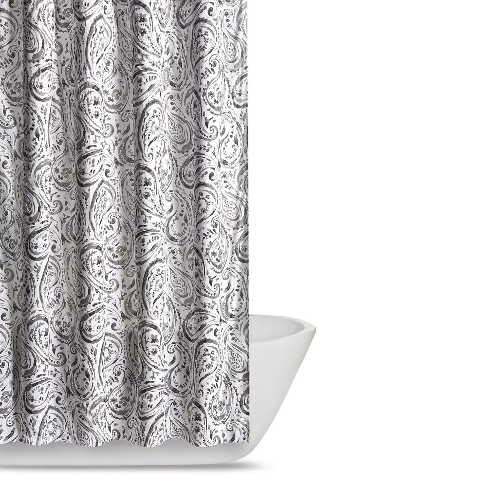 Truly Soft Watercolor Paisley 72 In Grey Shower Curtain