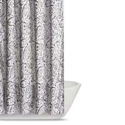 Watercolor Paisley 72 in. Grey Shower Curtain