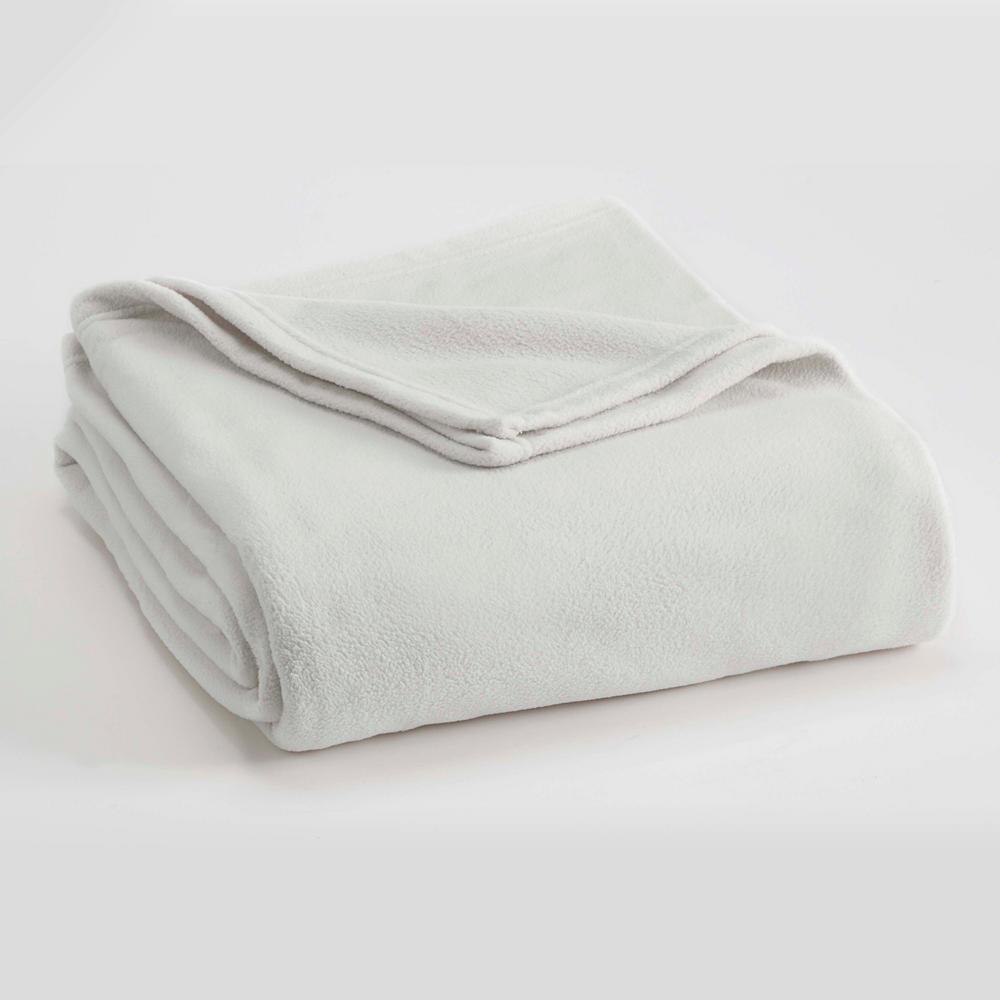 Microfleece Star White Polyester Twin Blanket