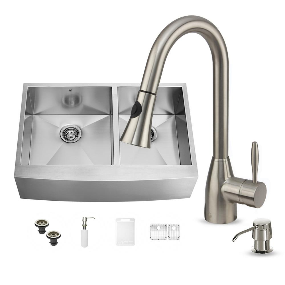 Vigo Double Basin Stainless Steel Apron Front Kitchen Sink