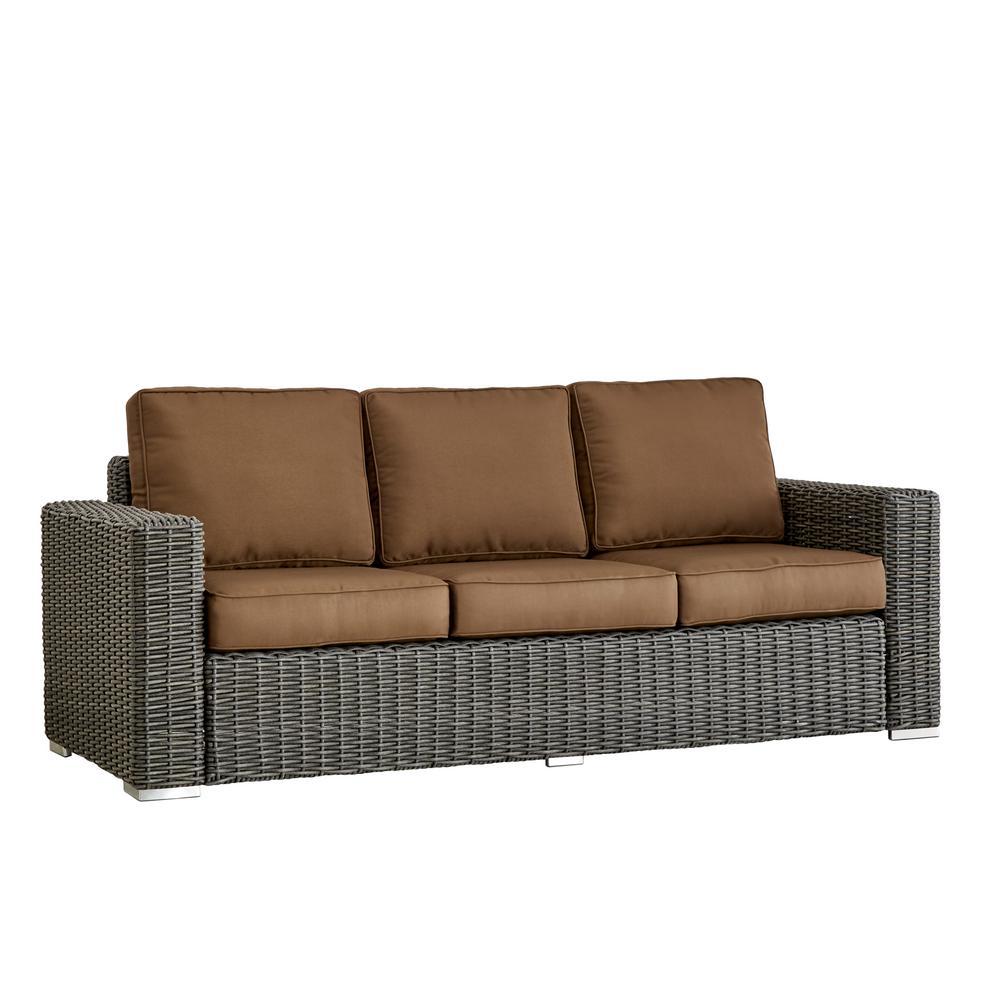 Square Arm Wicker Sofa Beige 486
