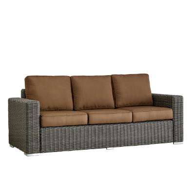 Camari Charcoal Square Arm Wicker Outdoor Sofa with Brown Cushion