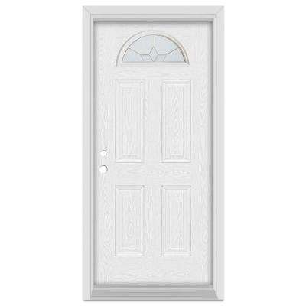 37.375 in. x 83 in. Geometric Right-Hand Half Moon Lite Brass Finished Fiberglass Oak Woodgrain Prehung Front Door