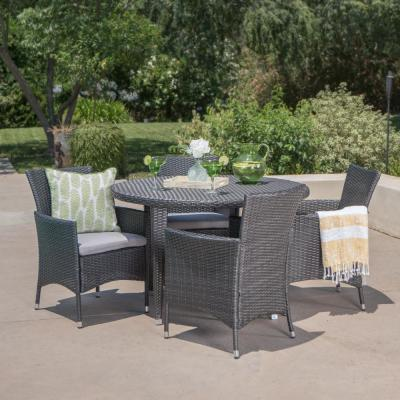 Manuel Grey 5-Piece Wicker Round Outdoor Dining Set with Silver Cushions