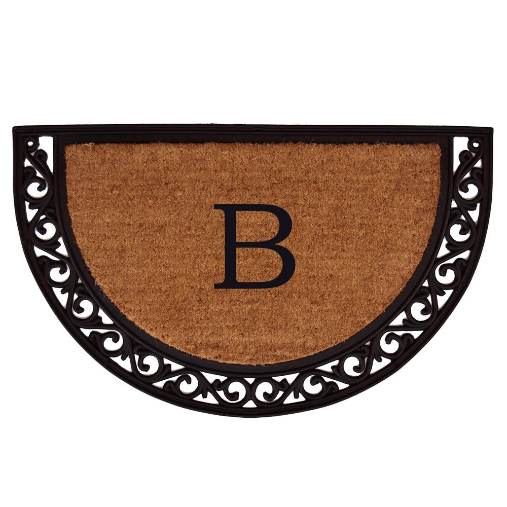 Ornate Scroll 18 in. x 30 in. Monogram B Door Mat