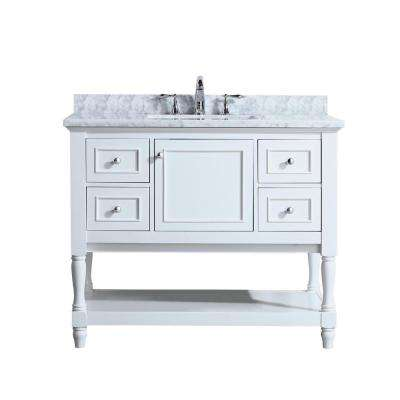 Cape Cod 42 in. Single Bath Vanity in White with Marble Vanity Top in Carrara White with White Basin