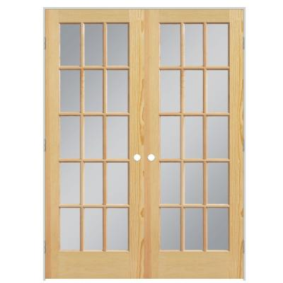 60 in. x 80 in. Smooth 15-Lite Hollow Core Unfinished Pine Prehung Interior French Door