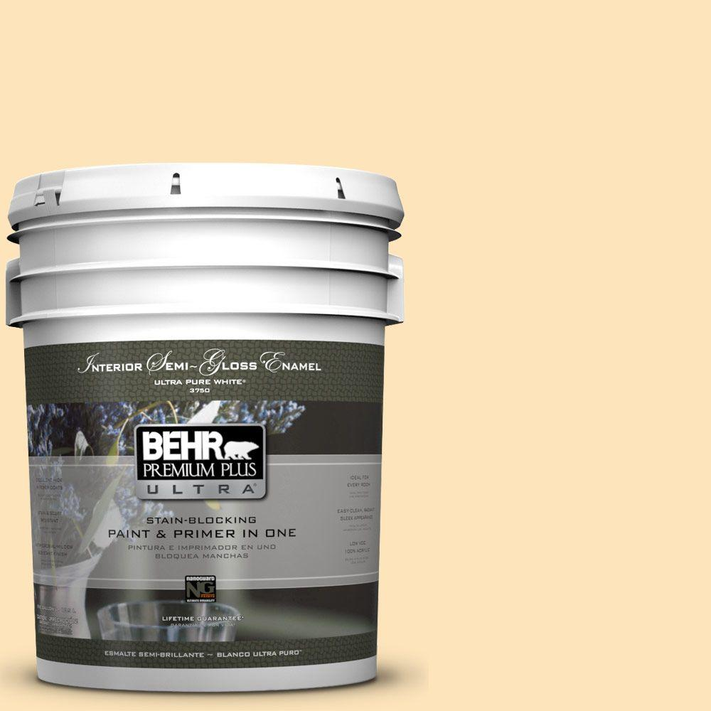 5-gal. #BIC-28 Butter Creme Semi-Gloss Enamel Interior Paint