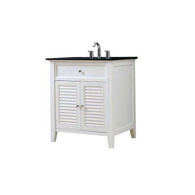Shutter 32 in. Vanity in White with Granite Vanity Top in Black with White Basin