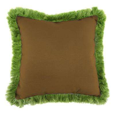 Sunbrella Canvas Teak Square Outdoor Throw Pillow with Gingko Fringe