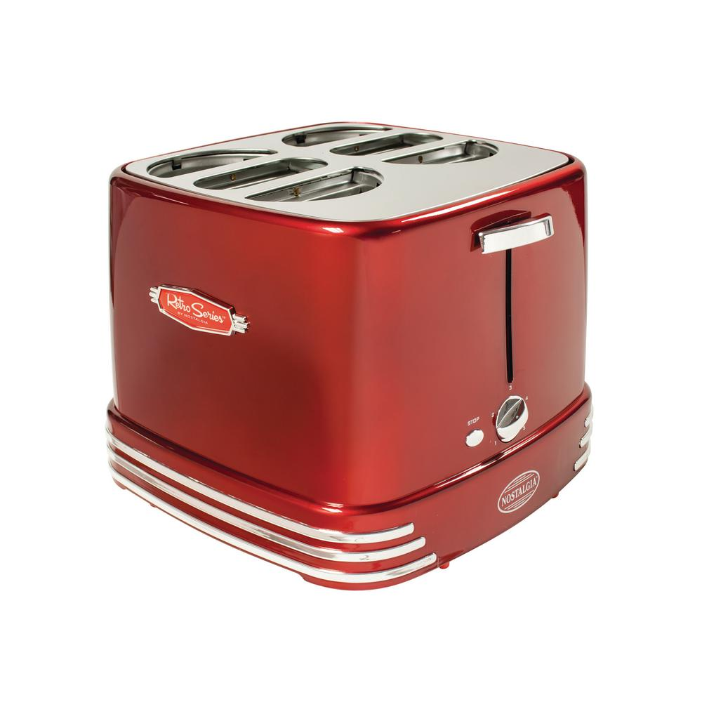 Nostalgia 4-Dog Red Hot Dog Toaster Our Pop‐Up Hot Dog Toaster is the fun and fastest way to enjoy a hot dog for the whole family. Toaster has 4 hot dog and bun slots. Includes mini tongs for removal of hot dogs. Color: Red.