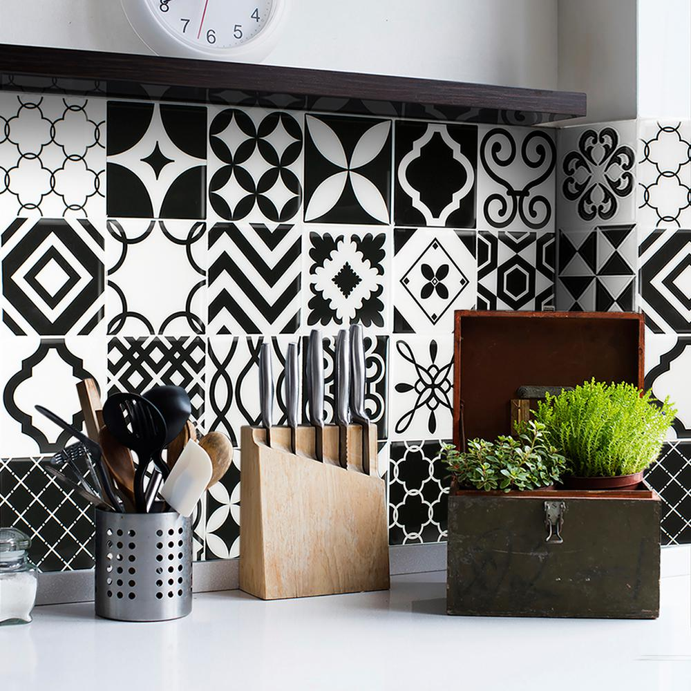 Smart tiles vintage bilbao 9 in w x 9 in h black and white peel this review is fromvintage bilbao approximately 3 in w x 3 in h black and white decorative mosaic wall tile backsplash sample dailygadgetfo Images