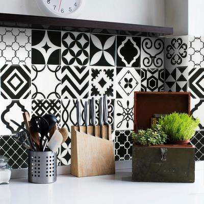 Vintage Bilbao Approximately 3 in. W x 3 in. H Black and White Decorative Mosaic Wall Tile Backsplash Sample