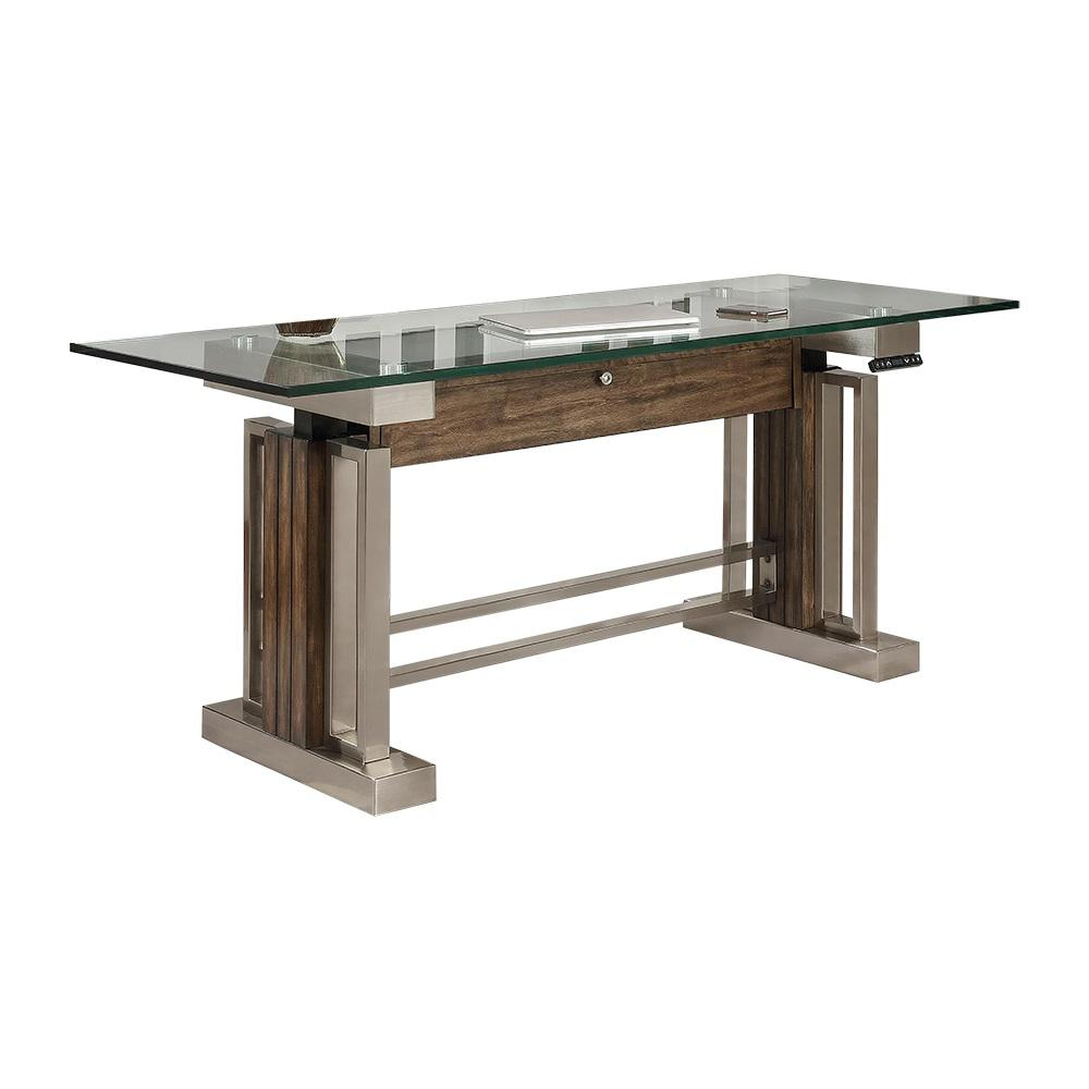 Bright Brushed Nickel Sit Stand Computer Brown Gray Finish