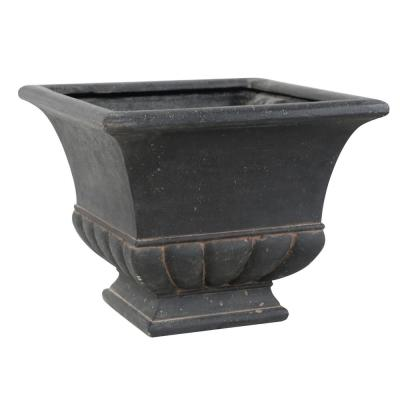 "18 in. ""x"" 14.5 in. H. Aged Charcoal Cast Stone Square Bulbous Urn"