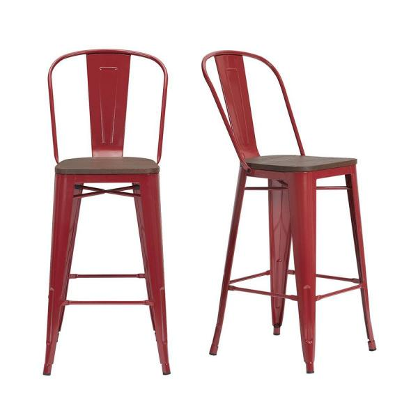 Finwick Chili Red Metal Bar Stool with Back and Wood Seat (Set of 2) (17.72 in. W x 43.9 in. H)