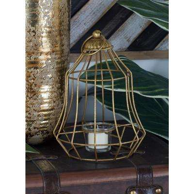 Gold and Silver Bell Cage Candle Lanterns (Set of 2)