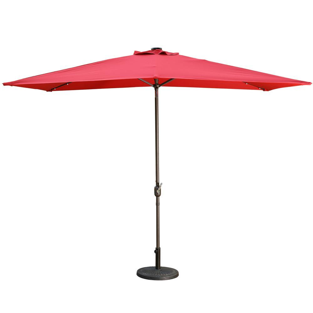 10 ft. Aluminum Rectanglar Market LED Patio Umbrella in Red