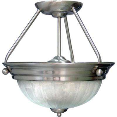Marti 2-Light Indoor Brushed Nickel Semi-Flush Mount Ceiling Fixture with Alabaster Melon Glass Bowl