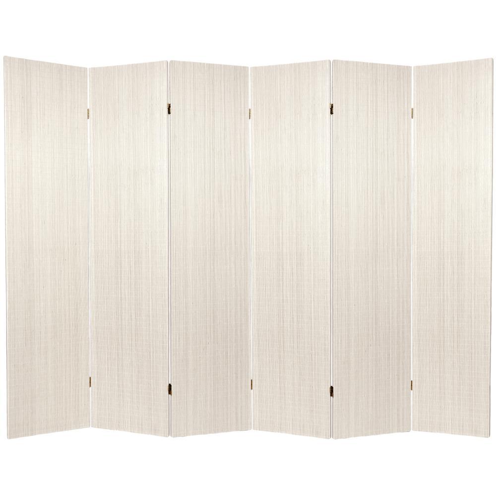 6 ft. White Framless Bamboo 6-Panel Room Divider