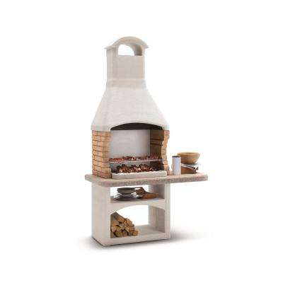 Boa Vista Charcoal or Wood Fire Pedestal Grill in Marmotech and Brick