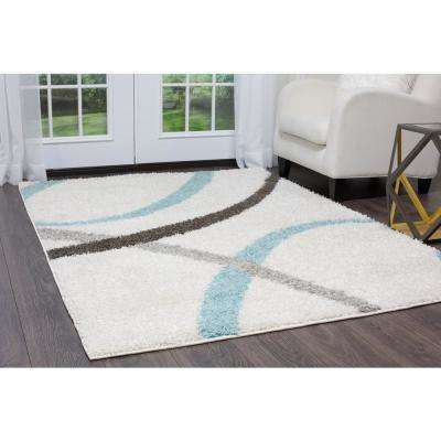 Synergy White/Aqua 5 ft. x 7 ft. Indoor Area Rug