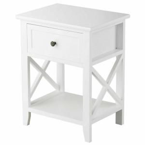 Costway 1 Drawer White End Bedside Table Nightstand