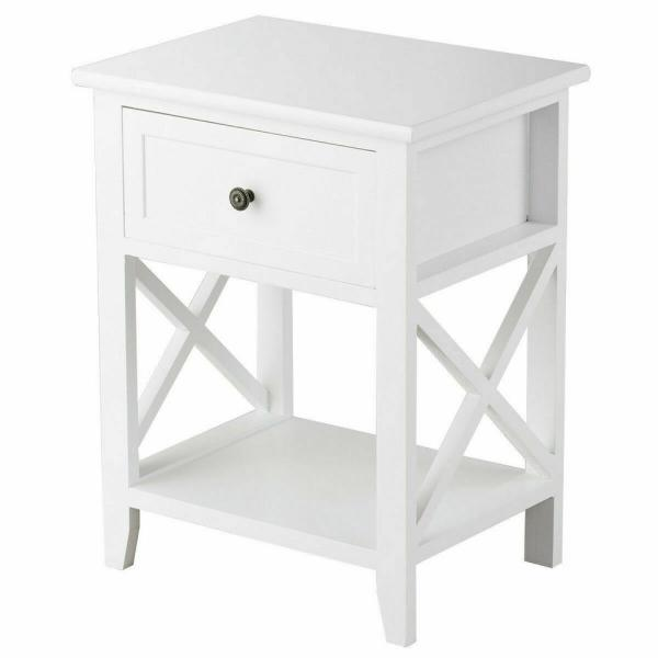 Bedroom Nightstand End Table with Shelf in White DEVAISE 1 Drawer Wood Beside Table