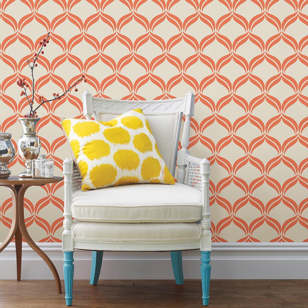 Petals Orange Ogee Wallpaper