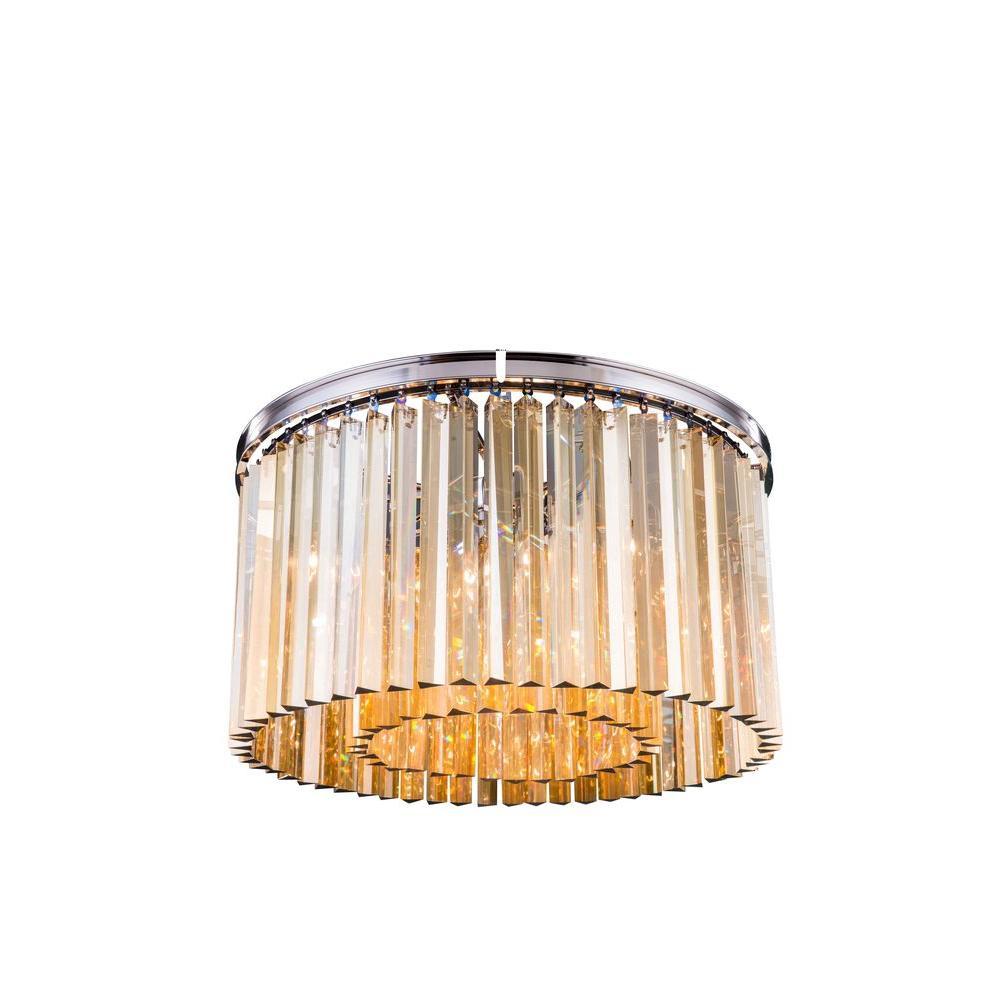Sydney 8-Light Polished Nickel Flush Mount with Golden Teak Smoky Crystal