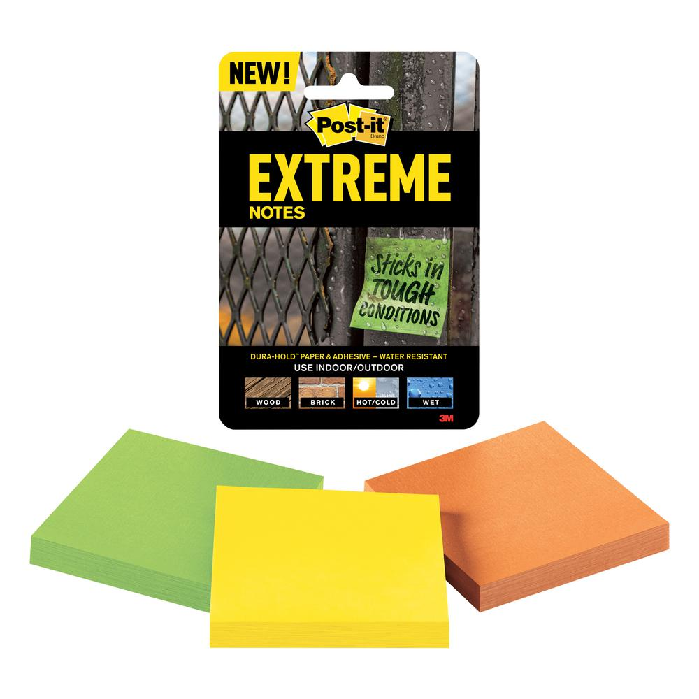 Superior Post It 3 In. X 3 In. Extreme Notes, Orange, Green